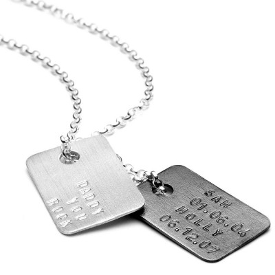 Mens personalized Silver Tag Necklace - Name My Jewelry ™