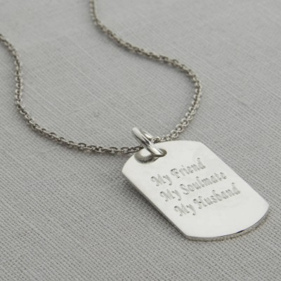 personalized Polished Sterling Silver Dog Tag Necklace - Name My Jewelry ™