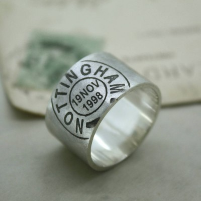 Mens personalized Place And Date Ring - Name My Jewelry ™