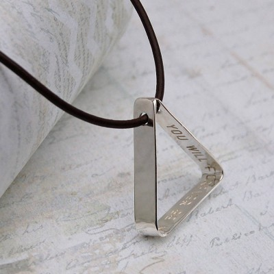 Mens Secret Message Silver Triangle Necklace - Name My Jewelry ™