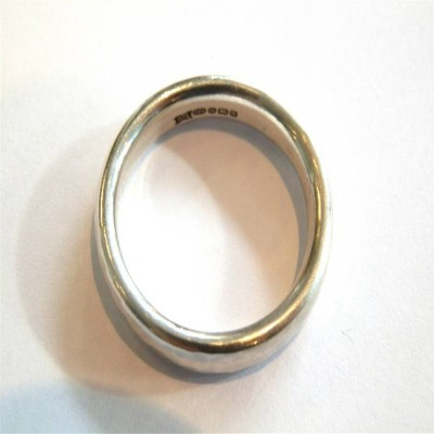 Mens Silver Hammered Ring - Name My Jewelry ™