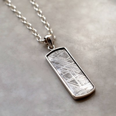 Meteorite And Silver Rectangular Necklace - Name My Jewelry ™
