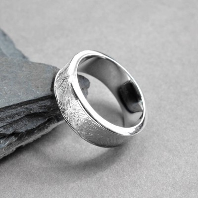 Meteorite Inlaid Silver Ring - Name My Jewelry ™