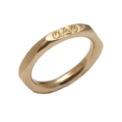 personalized Hexagonal 18ct Gold Ring - Name My Jewelry ™