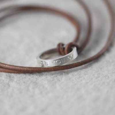 personalized Leather Ring Necklace - Name My Jewelry ™