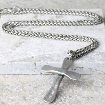 personalized Mens Antique Cross Necklace - Name My Jewelry ™