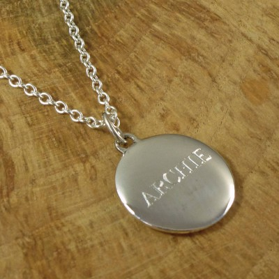 personalized Mens Silver Pebble Necklace - Name My Jewelry ™