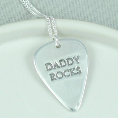 personalized Mens Silver Plectrum Necklace - Name My Jewelry ™