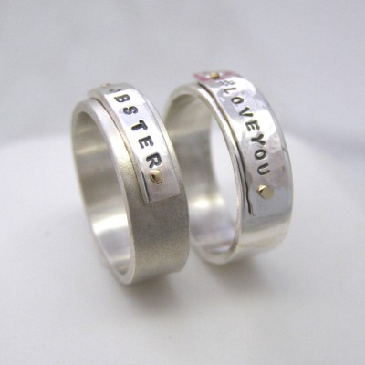 personalized Silver And Gold Rivet Rings - Name My Jewelry ™