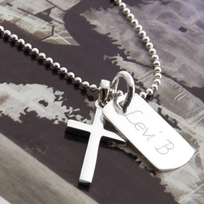 personalized Sterling Silver Cross And Dogtag Necklace - Name My Jewelry ™
