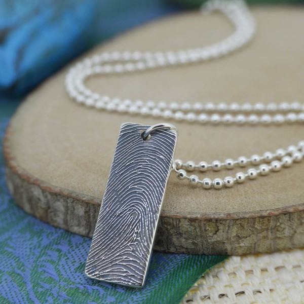 personalized Silver Ink Fingerprint Necklace - Name My Jewelry ™