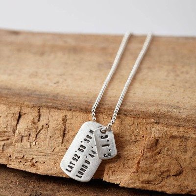 personalized Silver Location Dog Tag Necklace - Name My Jewelry ™
