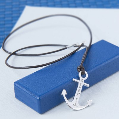 Mens personalized Sterling Silver Anchor Necklace - Name My Jewelry ™