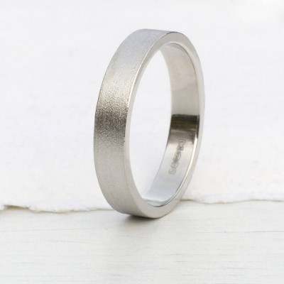 18ct White Gold Wedding Ring With Spun Silk Finish - Name My Jewelry ™