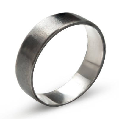 Sterling Silver Oxidized Flat Wedding Band Ring - Name My Jewelry ™