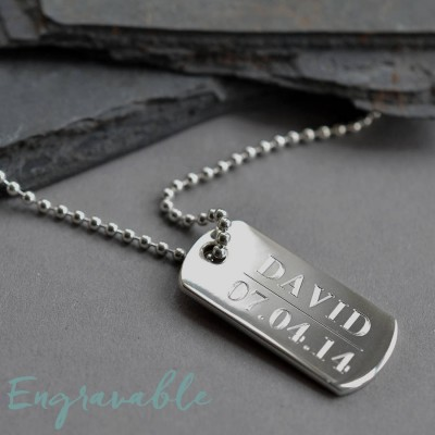 Sterling Silver Solid Dog Tag Necklace - Name My Jewelry ™