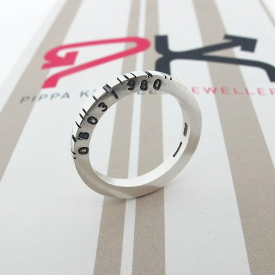 Thin Square Silver Barcode Ring - Name My Jewelry ™