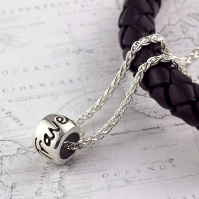 'Travel Safe' Solid Silver Mojo Charm Necklace - Name My Jewelry ™