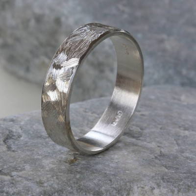 Handmade Unisex Textured Silver Band Ring - Name My Jewelry ™