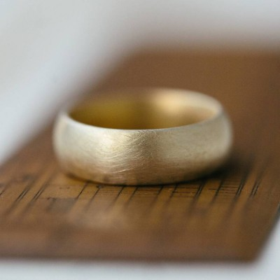 Wide Gents Soft Pebble Wedding Ring 18ct Gold - Name My Jewelry ™