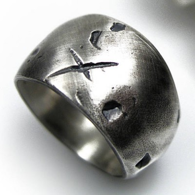 Rustic Wide Silver Gnarled Ring - Name My Jewelry ™