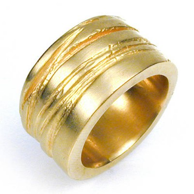 Wide Silver Texture Bound Ring In 18ct Gold Plated - Name My Jewelry ™